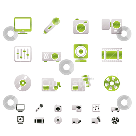 Media equipment icons  stock vector clipart, Media equipment icons - vector icon set - 2 colors included by Stoyan Haytov