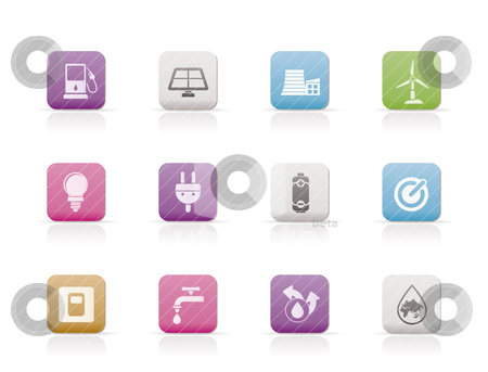 Ecology, power and energy icons  stock vector clipart, Ecology, power and energy icons - vector icon set by Stoyan Haytov