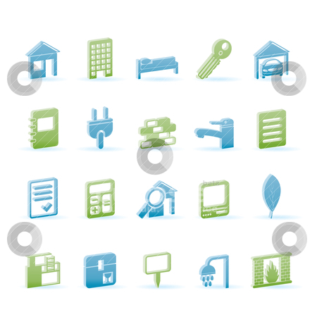 Real Estate and building icons  stock vector clipart, Real Estate and building icons - Vector Icon Set by Stoyan Haytov