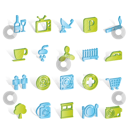 Hotel and Motel objects icons  stock vector clipart, Hotel and Motel objects icons - vector icon set by Stoyan Haytov