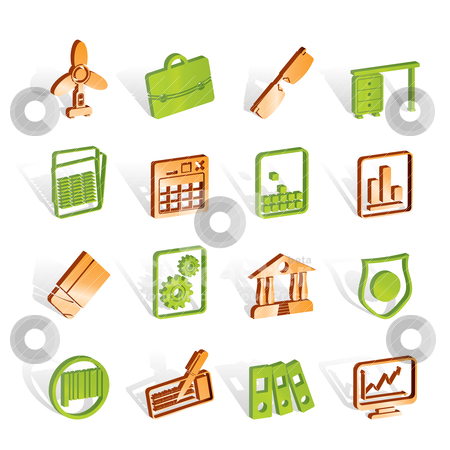 Business and Office Icons stock vector clipart, Business and Office Icons - Vector Icon Set 2 by Stoyan Haytov