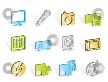 Media equipment icons  stock vector clipart, Media equipment icons - vector icon set  by Stoyan Haytov