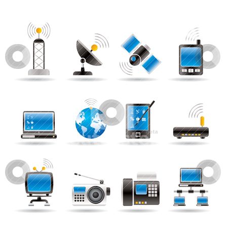 Communication and technology icons stock vector