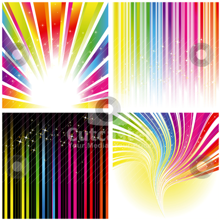 Abstract set of rainbow color stripe background stock vector clipart, Abstract set of rainbow color stripe and stars background by meikis
