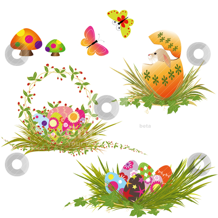 Set of Easter eggs collection stock vector clipart, Set of Easter eggs collection by meikis