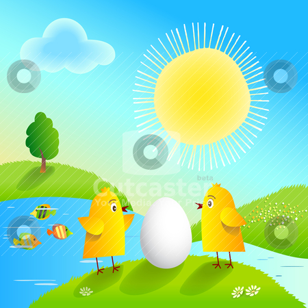 Happy Easter! stock vector clipart, Happy Easter with funny chickens and egg. by Oleksiy Fedorov