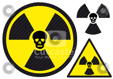 Nuclear symbol with skull stock vector clipart, atomic power sign with skull, vector illustration by Beata Kraus
