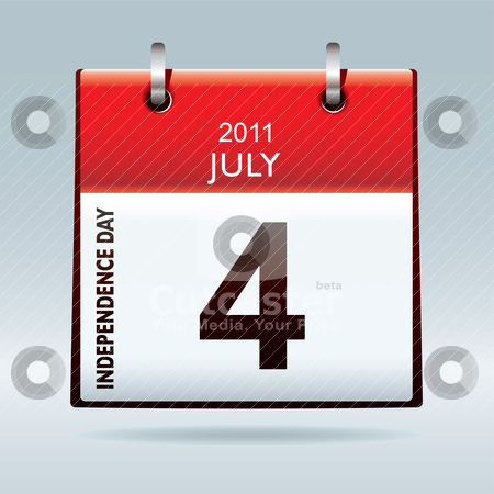 Independence day calendar icon stock vector clipart, red and white independence day calendar icon for july 2011 by Michael Travers