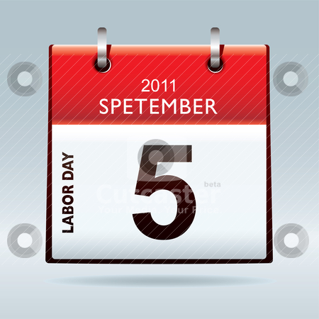 Labor day calendar icon stock vector clipart, Red and white labor day calendar icon with blue background 2011 by Michael Travers