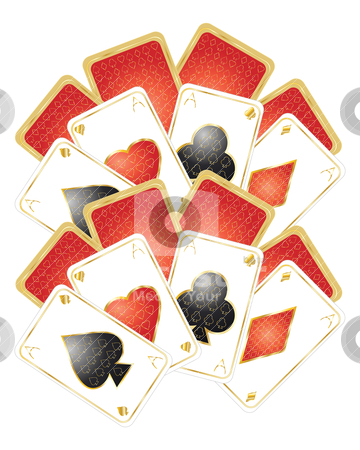 Playing card design stock vector clipart, an illustration of gold and red playing cards on a white background by Mike Smith