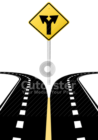 Decision choice future direction arrows road sign stock vector clipart, Right left arrows on highway road sign symbol of split paths decision by Michael Brown