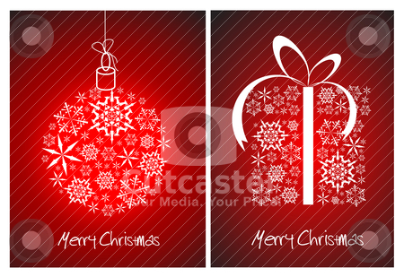 Christmas abstract card - sphere and gift box stock vector clipart, Christmas abstract card - sphere and gift box made from white snowflakes on red background by orson