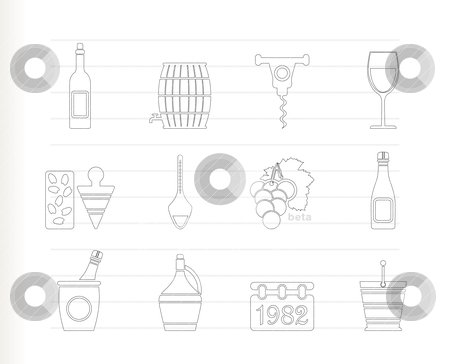 Wine and drink Icons  stock vector clipart, Wine and drink Icons - Vector Icon Set by Stoyan Haytov