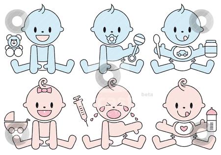 Baby boys and girls, vector stock vector clipart, set of baby boys and girls, vector illustration by Beata Kraus