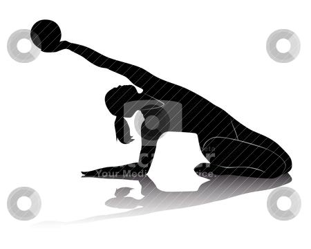 Rhythmic gymnastics stock vector clipart, black silhouette of athletes in rhythmic gymnastics on a white background by Yuriy Mayboroda