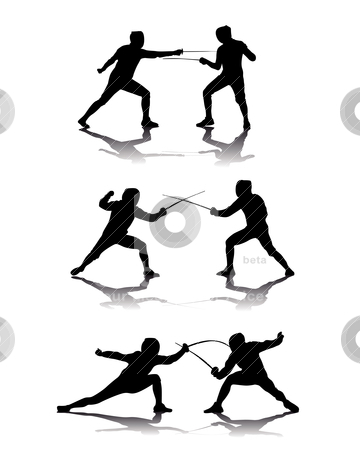 Black silhouettes of athletes fencers  stock vector clipart, black silhouettes of athletes fencers on a white background by Yuriy Mayboroda