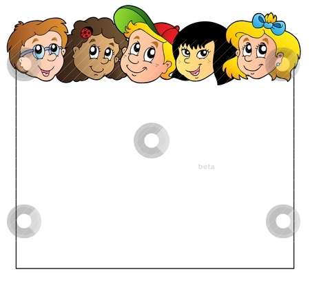 Blank frame with children faces stock vector clipart, Blank frame with children faces - vector illustration. by Klara Viskova