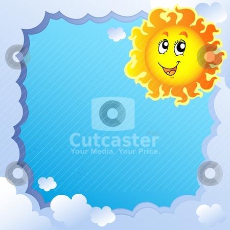 Cloudy frame with Sun 2 stock vector clipart, Cloudy frame with Sun 2 - vector illustration. by Klara Viskova