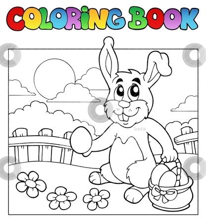 Coloring book with bunny and eggs stock vector clipart, Coloring book with bunny and eggs - vector illustration. by Klara Viskova