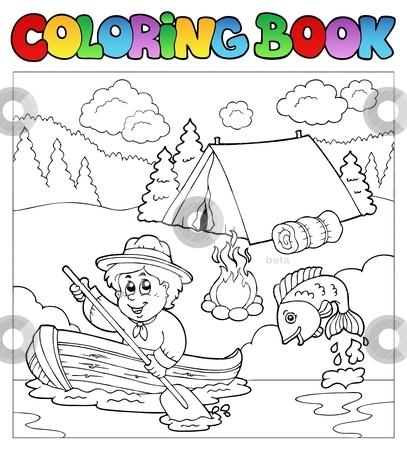 Coloring book with scout in boat stock vector clipart, Coloring book with scout in boat - vector illustration. by Klara Viskova