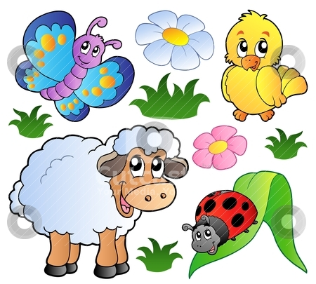 Various happy spring animals stock vector clipart, Various happy spring animals - vector illustration. by Klara Viskova