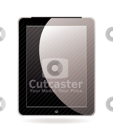 Computer tablet black stock vector clipart, Modern hand held or laptop mobile computer with touch screen by Michael Travers