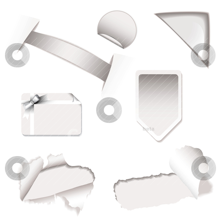 Shop sale elements white stock vector clipart, White or silver tags and elements with torn paper and corner icons by Michael Travers