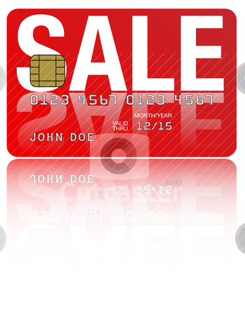 Sale Credit Card stock vector clipart, Fictitious Credit Card With Sale Sign on White Background by JAMDesign