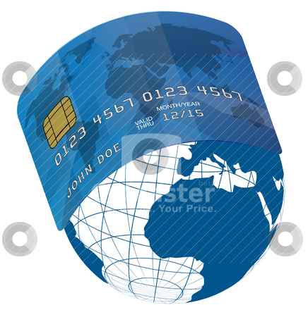 Credit Card wrapped around Globe stock vector clipart, Blue Fictitious Credit Card on Blue Globe - World Map by JAMDesign