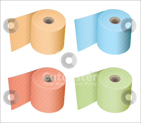 Toilet roll collection stock vector clipart, Colored toilet paper roll in a variety of subtle colours tissue by Michael Travers