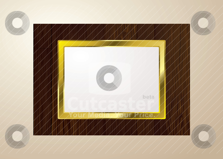 Dark wood picture frame stock vector clipart, Dark brown wood picture frame with grain and gold edge by Michael Travers