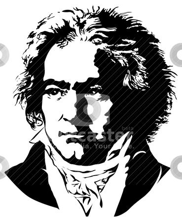 Ludwig van Beethoven stock vector clipart, Portrait of a German pianist and composer Ludwig van Beethoven by Moenez