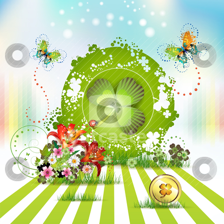 St. Patrick's Day card stock vector clipart, St. Patrick's Day card design with flowers, butterflies and clover by Merlinul