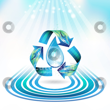 Ecology icon stock vector clipart, Ecology icon with drop and dolphins, recycle water by Merlinul