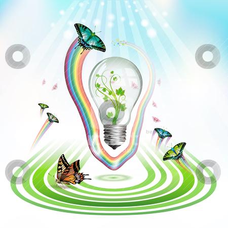 Light bulb for eco stock vector clipart, Light bulb for eco environmental concept, vector illustration by Merlinul