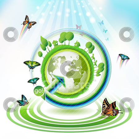 Green earth stock vector clipart, Green earth with butterflies and concentric stripes by Merlinul