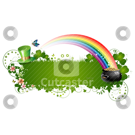 St. Patrick background stock vector clipart, St. Patrick background with flowers and butterflies isolated on white by Merlinul