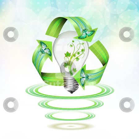 Eco bulb suspended stock vector clipart, Eco bulb suspended with waves on blue background by Merlinul