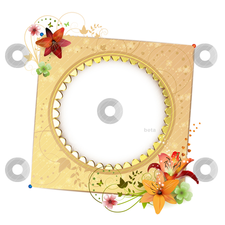 Frame background stock vector clipart, Frame background with flowers isolated on white by Merlinul