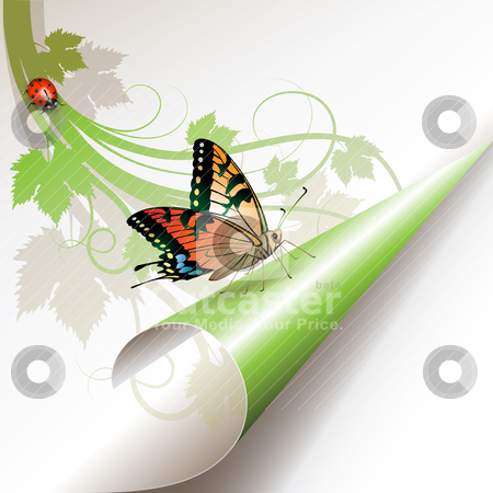 Curled corner stock vector clipart, Curled corner with butterfly by Merlinul