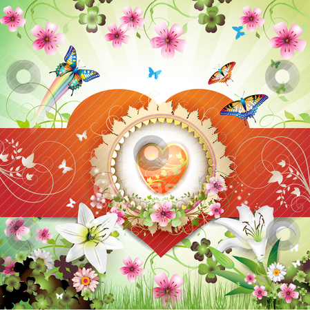 Valentine's day card stock vector clipart, Valentine's day card. Heart and butterflies over springtime background by Merlinul
