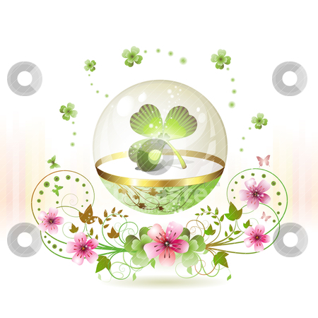 Clover in glass globe stock vector clipart, Clover in glass globe with flowers and butterflies for St. Patrick's Day by Merlinul