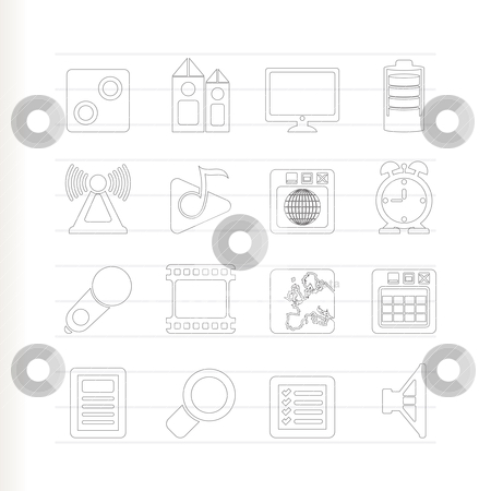 Mobile phone  performance, internet and office icons  stock vector clipart, Mobile phone  performance, internet and office icons - vector icon set by Stoyan Haytov