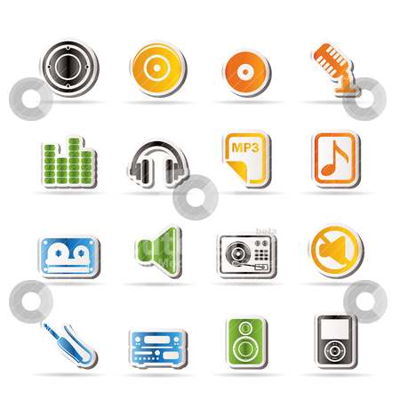 Simple Music and sound Icons  stock vector clipart, Simple Music and sound Icons Vector Icon Set by Stoyan Haytov
