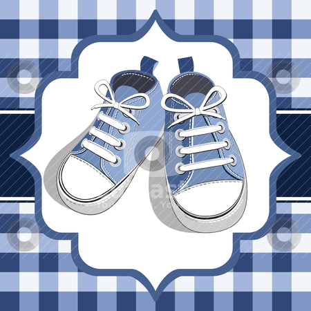 Blue kids sneaker stock vector clipart, Blue shoes on a checkered background, blue childrens or young adult shoes, pair kids sneaker. by Ela Kwasniewski