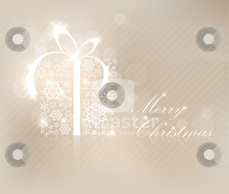 Christmas card with present box stock vector clipart, Christmas present box made from silver snowflakes by orson