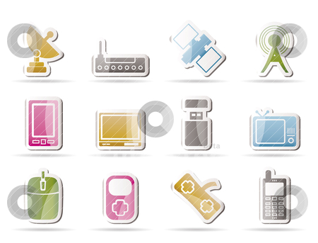 Technology and Communications icons  stock vector clipart, technology and Communications icons - vector icon set by Stoyan Haytov