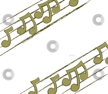 Corner Musical Notes stock vector clipart, Musical notation designed to fit in the top left and bottom right of a page. by Jamie Slavy