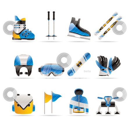 Ski and snowboard equipment icons  stock vector clipart, ski and snowboard equipment icons - vector icon set by Stoyan Haytov
