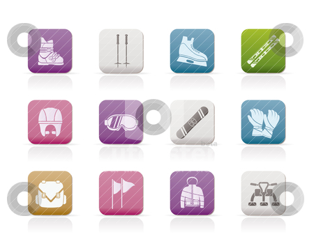 Ski and snowboard equipment icons  stock vector clipart, ski and snowboard equipment icons - vector icon set by Stoyan Haytov